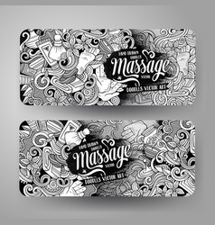 Cartoon doodles massage salon 2 horizontal banners vector