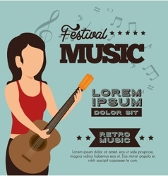 Character woman guitar festival music poster vector