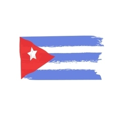 Cuban flag painted by brush hand paints abstract vector