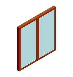 Double glass door icon cartoon style vector image
