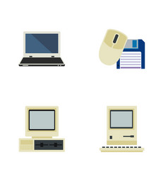 Flat icon computer set of computer mouse notebook vector