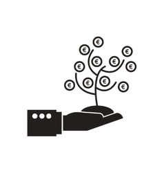 Flat icon in black and white money tree in hand vector