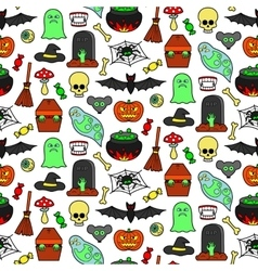 Halloween Patches Seamless Pattern vector image vector image