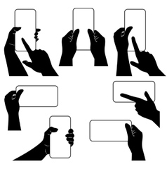 Hands with smartphone and whether other gadget vector