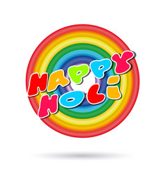 Happy holi greeting inscription lettering card vector