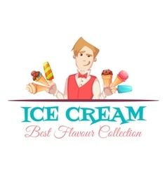 Ice cream vendor with best flavour collection vector image vector image