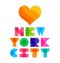 nyc color text typography t-shirt graphics vector image vector image