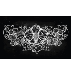 Orchid flower and paisley moon vector image