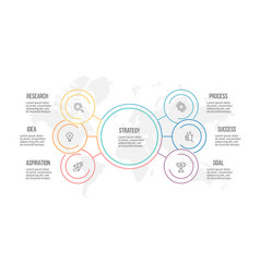 outline infographic organization chart with 6 vector image vector image