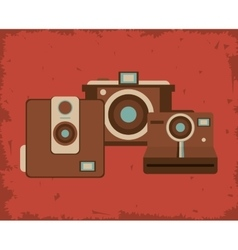 Retro photographic camera emblem image vector