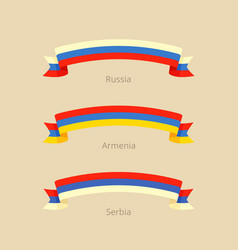 Ribbon with flag of russia armenia and serbia vector