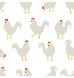 rooster pattern white vector image
