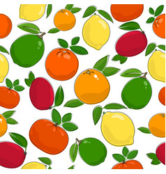 seamless pattern of ripe citrus fruits vector image vector image
