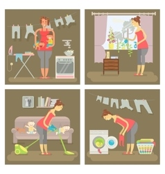 Set of housewife vector image vector image