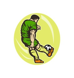 Soccer player kicking the ball vector image vector image