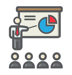 Training presentation colorful line icon business vector