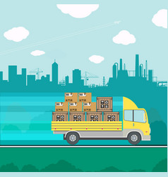 Truck transporting containers vector