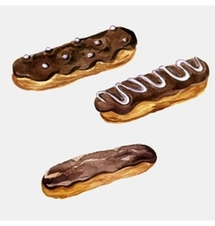 Watercolor drawing eclairs vector