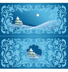 wintry landscape vector image vector image