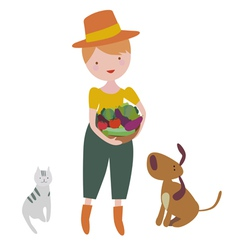 Young girl with vegetables plus cat and dog vector