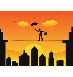 Businessman walking a high wire tightrope vector