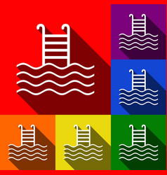 Swimming pool sign  set of icons with flat vector