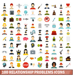 100 relationship problems icons set flat style vector