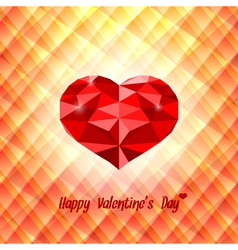 Polygonal red heart on triangular background vector
