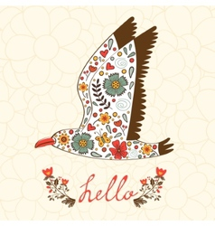 Elegant hello card with flying seagull vector