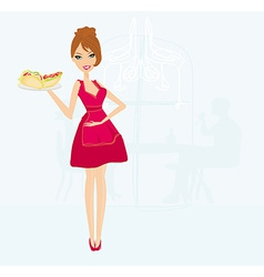 Beautiful waitress with a tray with sandwiches in vector