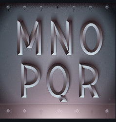 Metal embossed font from m to r vector