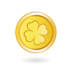 Golden coin with irish shamrock vector