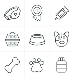 Line icons style dog icons set design vector