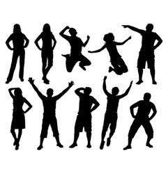 Happy active people silhouettes vector