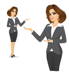 Cute business woman showing something vector