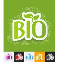 Bio sign paper sticker with hand drawn elements vector