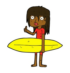 Comic cartoon surfer girl vector