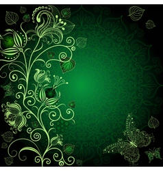 Dark green floral frame vector