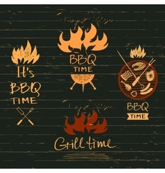 Set lettering hand drawn logos with fire vector