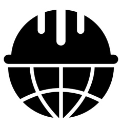 Global safety helmet flat icon vector