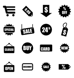 Black shopping icon set vector