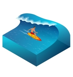 Surfer on Blue Ocean Wave in the Tube Getting vector image