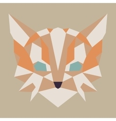 Beige and orange low poly cat vector image