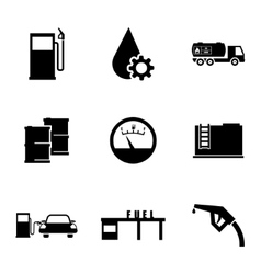 black gas station icons set vector image vector image