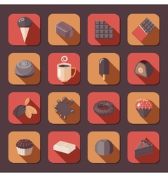 Chocolate icons flat vector image vector image