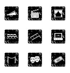 Cinema icons set grunge style vector