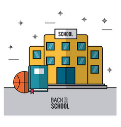 Color poster of back to school with school vector