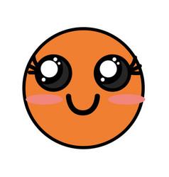 Cute kawaii beautiful face smile and happy vector