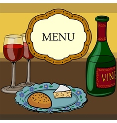 drawing of wine and glasses vector image