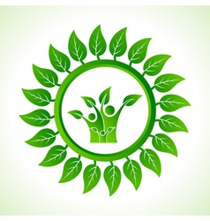 Eco family inside the leaf background vector image